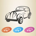 Old retro car symbol isolated Stock Photography