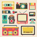 Old retro media communication technology such as mobile phone Royalty Free Stock Photo
