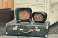 Old retro objects antique radio receivers on a valise suitcase Royalty Free Stock Photo