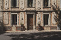 Old Retro Renaissance Facade With Cracked Plaster, France