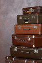 Old retro suitcases at a wall the Stock Photography