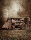 Old retro train in the forest autumn scenery with an Stock Image