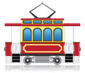Old retro tram vector illustration isolated on white background Stock Photo