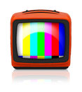 Old retro tv psychedelic orange and multicolor signal lines with reflection on white background Stock Images