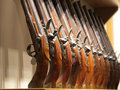 Old rifles these are lined up inside of the tower of london Royalty Free Stock Images