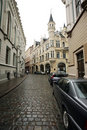 Old Riga street, Latvia. Stock Photos