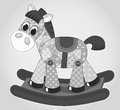 Old rocking horse cartoon illustration for children Stock Image