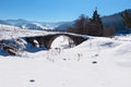 Old Roman bridge covered from the snow in Bulgaria Royalty Free Stock Photo