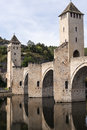 Old roman bridge ponte valentre th century at cahors france Royalty Free Stock Photo
