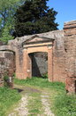 Old roman house entrance of an in ostia antica the harbour of rome italy Stock Photo