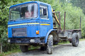 Old romanian truck roman used to work in the forest and transported logs with the dac division is a and bus Royalty Free Stock Image