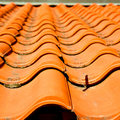 old roof in italy the line and texture of diagonal architecture Royalty Free Stock Photo