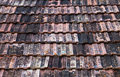 Old roof tiles closeup texture of red Stock Photos