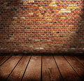 Old room with brick wall ready for product montage display Stock Photography