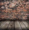 Old room with brick wall ready for product montage display Royalty Free Stock Photo
