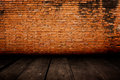 Old room with brick wall vintage background suitable for Stock Photography