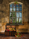 Old room with christmas decorations a window trunk and gift boxes Stock Images