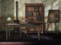 Old room with vintage furniture a bookshelf lamp and painting Royalty Free Stock Photos