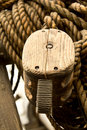 Old rope and wooden block pulleys Royalty Free Stock Photos