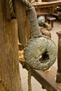 Old rope and wooden block pulleys Stock Photography
