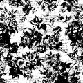 Old rose wallpaper - vintage template. Shabby retro wall background. Black white illustrated texture.