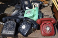 Old rotary phones. Stock Photo