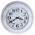 Old round wall clock white isolated on white background Stock Photo