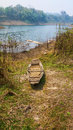 Old rowboat down the reservoir Stock Photo