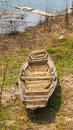 Old rowboat down the reservoir Stock Images