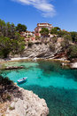 Old rowboat moored in cala fornells majorca spain Royalty Free Stock Photography
