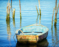 Old rowboat wooden at a lake Royalty Free Stock Photography