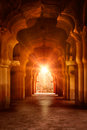 Old ruined arch in ancient palace at sunset Royalty Free Stock Photo