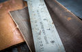 Old ruler and sandpaper Royalty Free Stock Photo