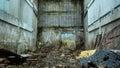 An old run down brick walls in an urban setting. Royalty Free Stock Photo