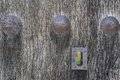 Old run down wooden door and lock closeup of vintage iron Stock Photography