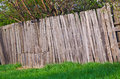 Old Rural Wooden Fence Of Tree...