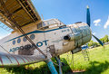 Old russian aircraft an at an abandoned aerodrome samara russia may in summertime the antonov is a soviet mass produced single Stock Images