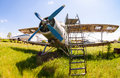 Old russian aircraft an at an abandoned aerodrome samara russia may in summertime the antonov is a soviet mass produced single Royalty Free Stock Image