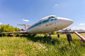 Old russian aircraft yak at an abandoned aerodrome samara russia may in summertime Royalty Free Stock Photos