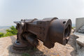 Old russian cannon fortress era japanese war in in lyushyun name of port arthur china Stock Photo