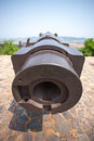 Old russian cannon russian fortress era japanese war in in lyushyun name of port arthur china Royalty Free Stock Photo