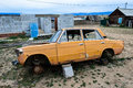 Old russian car broken down in the town of khuzir lake baikal russia Stock Photo