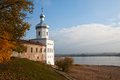 Old russian church of archangel michael view the river volkhov and st s tower the st george yuriev monastery temple russia velikiy Royalty Free Stock Photo