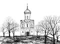Old russian church old russian town landscape hand drawn illustration the golden ring of russia suzdal ancient city view cityscape Royalty Free Stock Photo