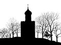 Old russian church silhouette old russian town landscape hand drawn illustration the golden ring of russia suzdal ancient city Royalty Free Stock Images