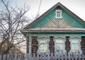Old russian house and tree elements of decoration of windows window trim wooden ornaments Royalty Free Stock Images