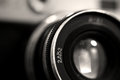 Old russian photo camera objective close up Royalty Free Stock Photo