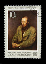 Old Russian postage stamp with Fyodor Dostoyevsky Royalty Free Stock Photo