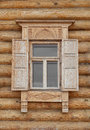 Old Russian Style Window with Wood Frame Royalty Free Stock Photo