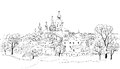 Old russian town cityscape sketch drawing of view of suzdal town the golden ring of russia ancient city with church and buildings Stock Photography